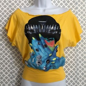 Fornarina yellow graphic open shoulder tee